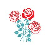 Vector picture three flowers of a rose royalty free illustration