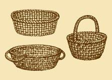 Vector picture of wickerwork basket Stock Image