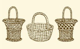 Vector picture of wickerwork basket Stock Image