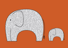 Vector Picture With Elephants Royalty Free Stock Images
