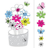 Vector Picture With Flowers Painted Stock Photos