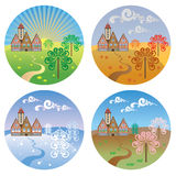 Vector pictures with landscapes four seasons. Round pictures with the image of the four seasons Royalty Free Stock Images