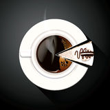 Vector of Pie chart of Coffee cup and Cake slices Stock Photos