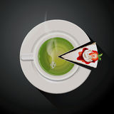 Vector of Pie chart of Green tea cup and Cake slices Royalty Free Stock Photos