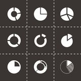 Vector pie chart icon set. On black background Royalty Free Stock Photos