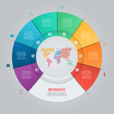 Vector pie chart template for graphs, charts, diagrams. Business circle infographic concept with 8 options, parts, steps, processes with world map inside Stock Photography