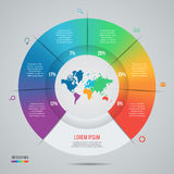 Vector pie chart template for graphs, charts, diagrams. Business circle infographic concept with world map with 6 options, parts, steps, processes Royalty Free Stock Photo