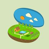 Vector piece of land and sky with objects Stock Photos