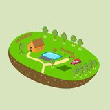 Vector piece of land and sky with objects Royalty Free Stock Image