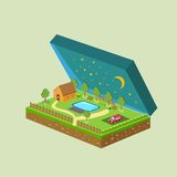 Vector piece of land and sky with objects Royalty Free Stock Photos