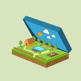 Vector piece of land and sky with objects Stock Images