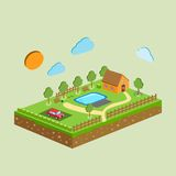 Vector piece of land and sky with objects Royalty Free Stock Photography