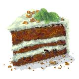 Vector piece of pepermint cake with slices of walnuts, sprig of mint, prunes, crumbly tender cake layers, which are stock illustration