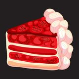 Vector Piece of Strawberry cake Royalty Free Stock Image