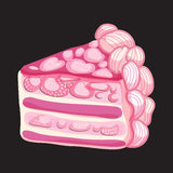 Vector Piece of Strawberry cake Stock Images