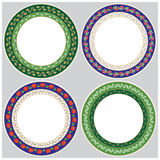 Vector 4 pieces round vegetable decorative ornaments. Royalty Free Stock Images