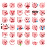 36 Vector Pig Emoticons Collection. Collection of 36 high quality vector emoticons illustrations royalty free illustration