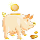 Vector Pig-piggy bank with gold coins. Pig-piggy bank with gold coins isolated on a white background Royalty Free Stock Photos