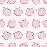 Vector pig seamless puttern. Moneybox background concept sketch Stock Photos