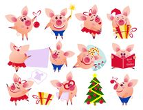 Vector pig set in different situations. stock illustration