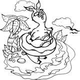 Vector, piggy illustratie, zwart-wit, strand, overzees, de zomer, zon, tan, vreugde vector illustratie
