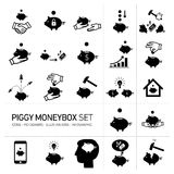 Vector piggy moneybox and moneybank icons set Royalty Free Stock Photos
