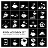 Vector piggy moneybox and moneybank icons set Stock Photos