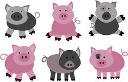 Vector pigs and boars Royalty Free Stock Image