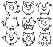 Vector pigs cartoons. Vector cute pigs cartoons, black silhouettes for coloring, isolated Stock Photos