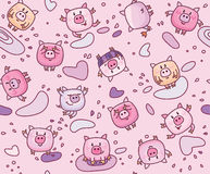 Vector  pigs seamless pattern. Vector cute pigs cartoons seamless pattern Royalty Free Stock Photography