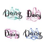 Vector piles of milk products set with dairy letterings. Above them illustration Royalty Free Stock Photos