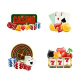 Vector piles of realistic casino gamble set illustration. Gambling and casino, poker game and luck stock illustration