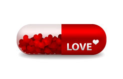 Vector pill of love. Vector red and white pill of love with light shadow Stock Photo