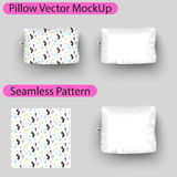 Vector pillow mock up with seamless pattern swatch. Square pillow blank mockup to place design Royalty Free Stock Photography