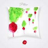 Vector pillow with watercolor colorful radish for Stock Photo