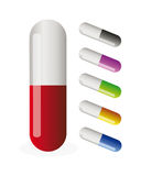 Vector pills Stock Images