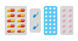 Vector pills and capsules Royalty Free Stock Photo