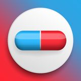 Vector pills medical button symbol Stock Image