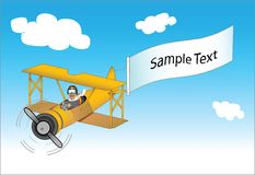 Vector pilot in plane. Vector drawing of a african american pilot in a bi-plane trailing a message royalty free illustration