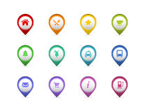 Vector pin set. Set of 12 colorful map pin pointers with icons Stock Image
