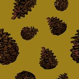 Vector pine cones seamless pattern. Decoration element vector illustration