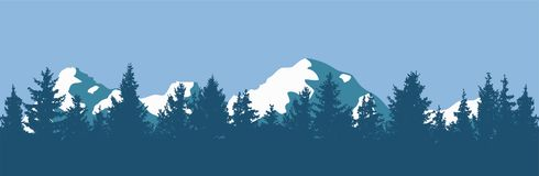 Vector pine forest and mountain silhouettes Royalty Free Stock Photo