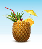Vector Pineapple cocktail. Garnished with maraschino cherry, orange slice, red straw tubes and yellow umbrella  on background Royalty Free Stock Photography