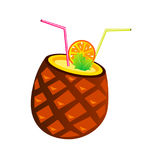 Vector pineapple cocktail with tubes and orange slice Stock Photos