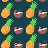 Vector pineapple and coconut fruit seamless pattern Stock Images