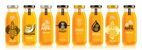 Free Vector Pineapple Juice, Glass Fruit Bottle Set Stock Images - 160623814