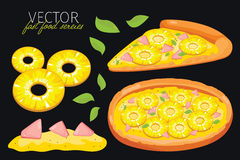 vector pineapple pizza. Fast food set. Stock Images