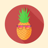 Vector pineapple tropical fruit with party glasses in the circle Stock Photography