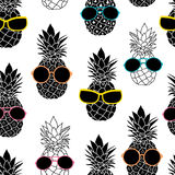 Vector pineapples wearing colorful sunglasses Stock Photos