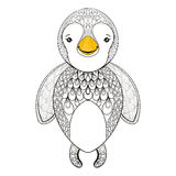 Vector pinguin for adult coloring page. Hand drawn cute pinguin Royalty Free Stock Photo